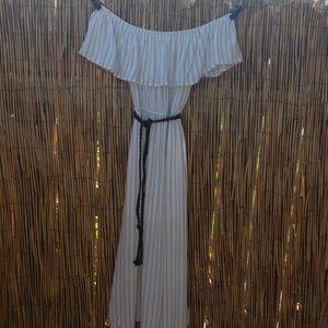 Aqua white dress with black pin stripes